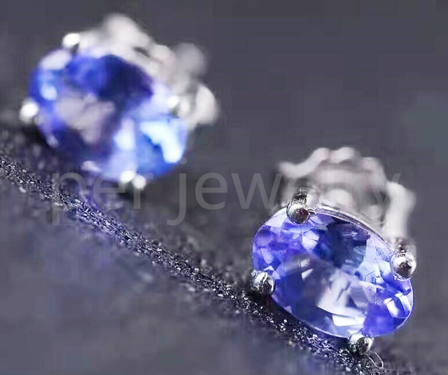 Natural Tanzanite Stud Earring Free Shipping Origin 925 Sterling Silver 0 5ct 2pcs