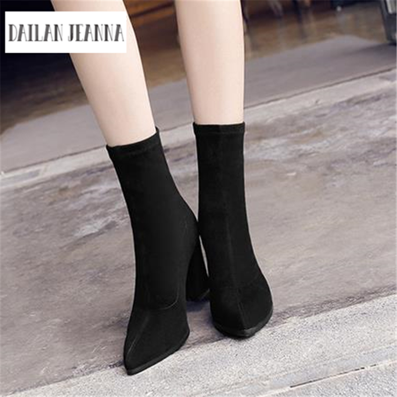 Europe and the United States 2017 new boots suede shoes boots stovepipe socks in tube pointed high-heeled bootswith thick boots