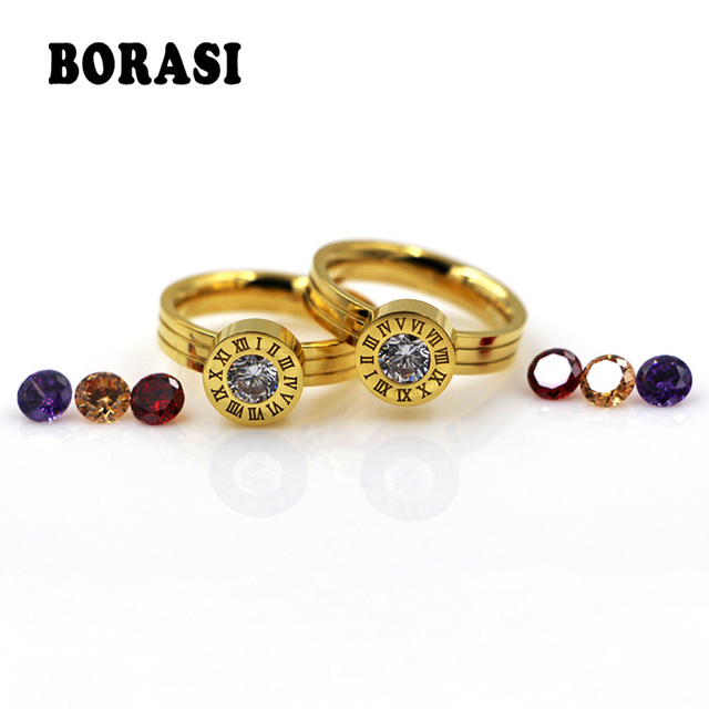 BORASI Roman Numerals Crystal Rings For Women Stainless Steel 4 Colour Stone Women's Ring Classic Gold Color Wedding Jewelry