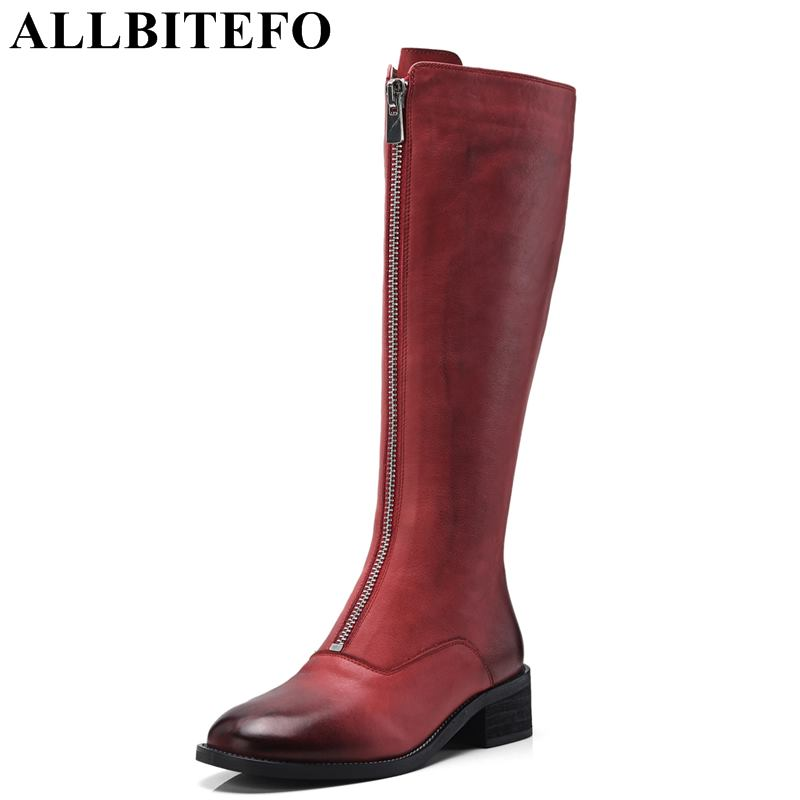 ALLBITEFO natural genuine leather women boots Autumn winter girls knee high long boots fashion thigh high boots shoes red black allbitefo natural genuine leather women boots high quality winter girls knee high long boots fashion thigh high boots for woman