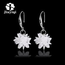 Ice snow flower design 925 sterling silver ladies Drop snowflake earrings jewelry birthday gift wholesale