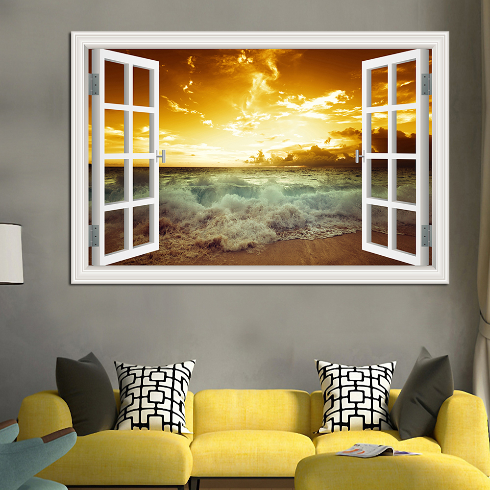 US 3D Wall Stickers Sunset Beach Window Room Decal Wallpaper Removable