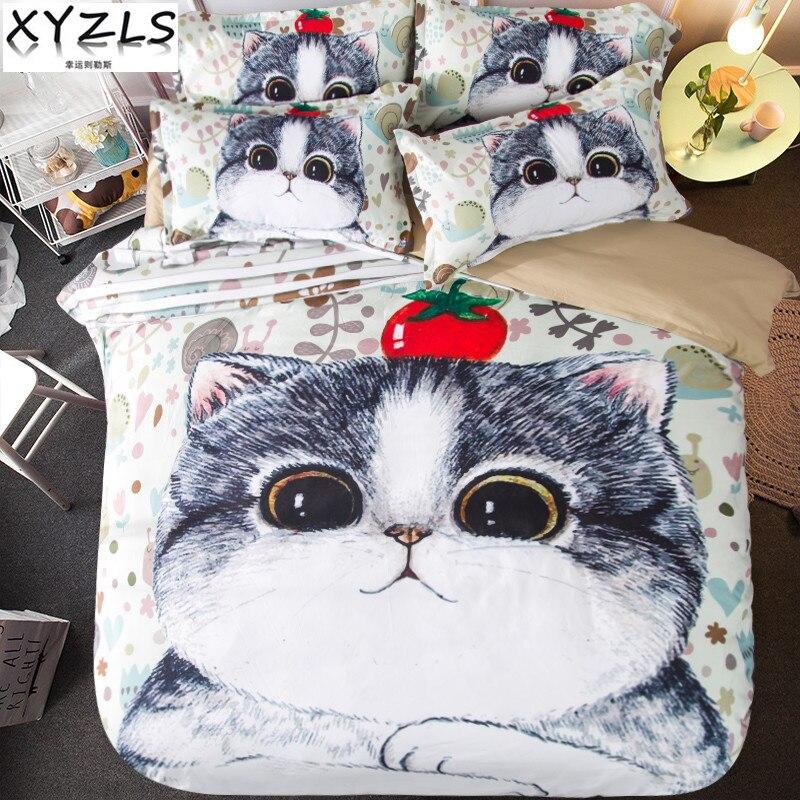 XYZLS Cartoon Cats Queen Cotton Bedding Set Kitten Double Twin Duvet Cover Set Children Full Bedclothes
