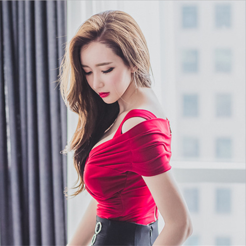Women Solid Sexy Off Shoulder V Neck Slim Tees T Shirts Female Teenage Girls In T Shirts From Womens Clothing On Aliexpress Com Alibaba Group