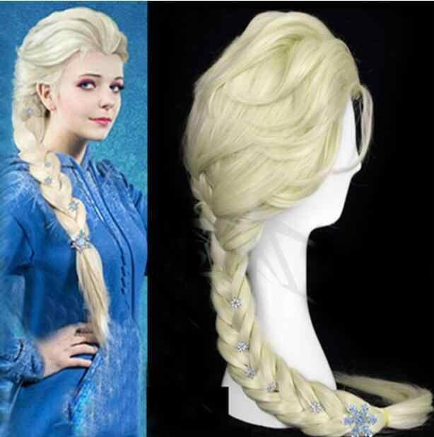 Disney Princesa Congelado Snow Queen Elsa Weaving Braid PERUCA Loiro Claro Peruca Cosplay Frete Grátis