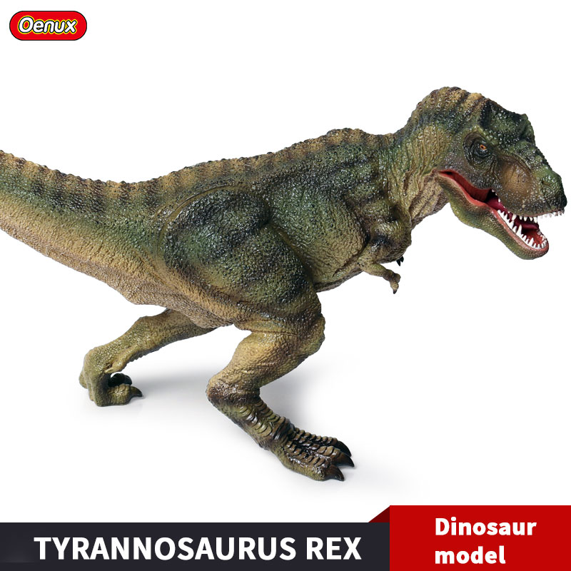 все цены на Oenux New Large Jurassic Tyrannosaurus T-Rex Mouth Open Dinosaurs Park World Model Action Figures PVC Collection Toy Kids Gift