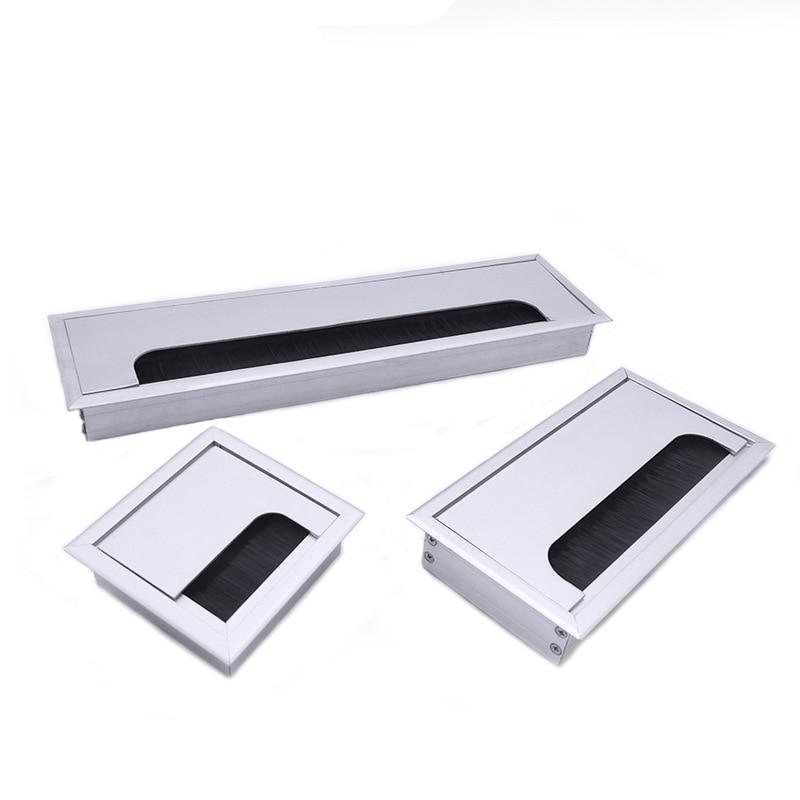 Hot Aluminum Alloy Square Wire Hole Cover Desktop Computer Desk Threading Box PLD