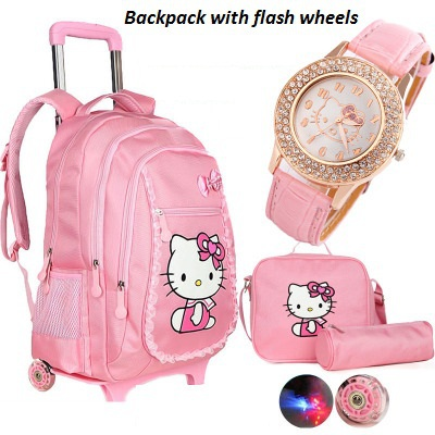 Hello kitty trolley school bags for girls cartoon children backpack with wheels teenage school bags women mochila infantil bolsa delune new european children school bag for girls boys backpack cartoon mochila infantil large capacity orthopedic schoolbag