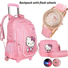 Hallo kitty trolley schultaschen für mädchen cartoon kinder rucksack mit rädern teenager schultaschen frauen mochila infantil bolsa