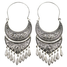 MYTHIC AGE  Ethnic Tribal Antique Silver Color Bohemia Carved Moon Long Tassel Earrings Vintage Jewelry For Women
