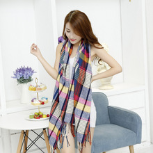 Classic Autumn Winter Plaid Tartan Striped Cashmere Double Lengthen Thick Tassel Fringe Scarf Shawl Tippet For Female Ladies