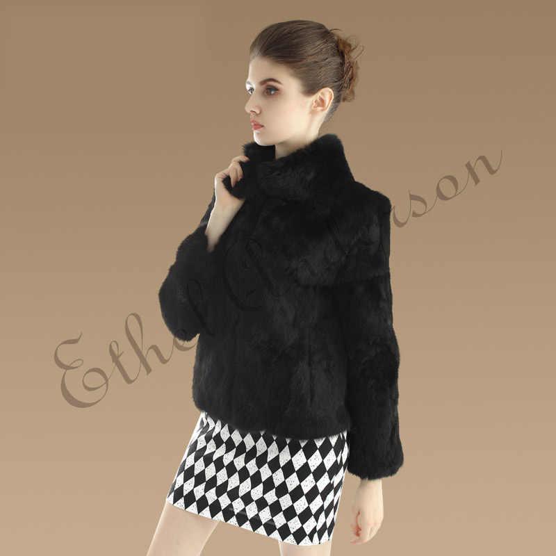 Ethel Anderson kadın gerçek tavşan kürk portmanto-up yaka tasarım ceket beyaz/siyah