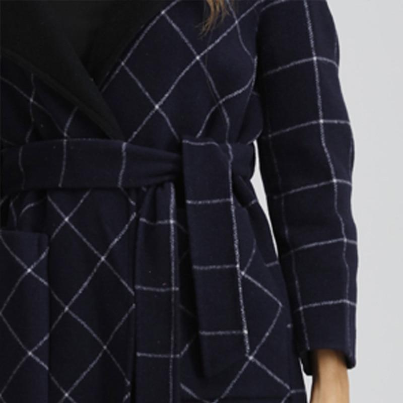 Style Femmes Plus Luxe De Italien Beige La Cachemire Long Femelle Mince Outwear D'hiver Plaid Manteau Cru Laine Lâche bleu Taille Automne qC4qrfEn