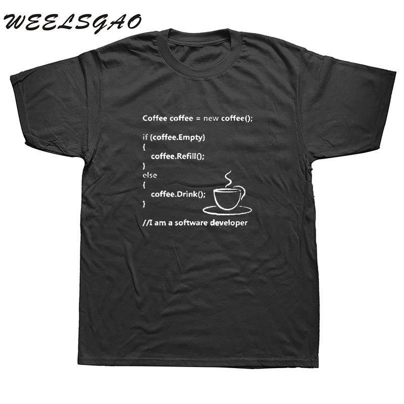 WEELSGAO Programmer Coding Tee Shirt Geek Style Casual Fit Men T Shirt Plus Size Cotton Print Short Sleeve T-shirt