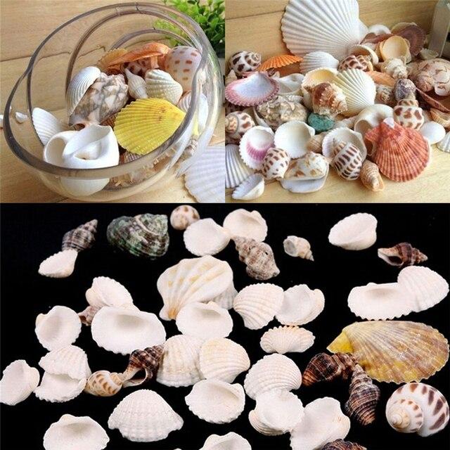 Mediterrane Accessoires 100g coloeful natuurlijke seashell 1 zak mediterrane stijl aquarium