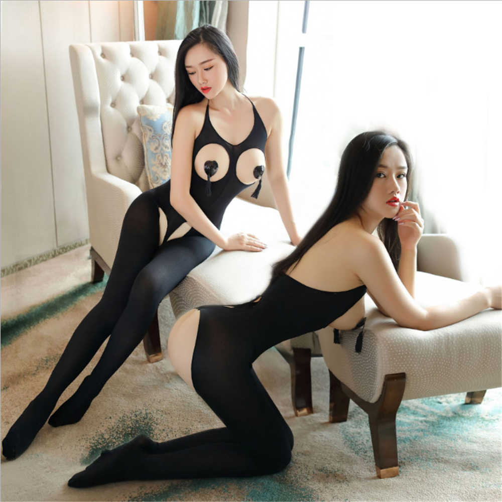 Transparante halter hol Billen-bodystocking porno open bh body sexy kostuums catsuit bodystocking open kruis lingerie