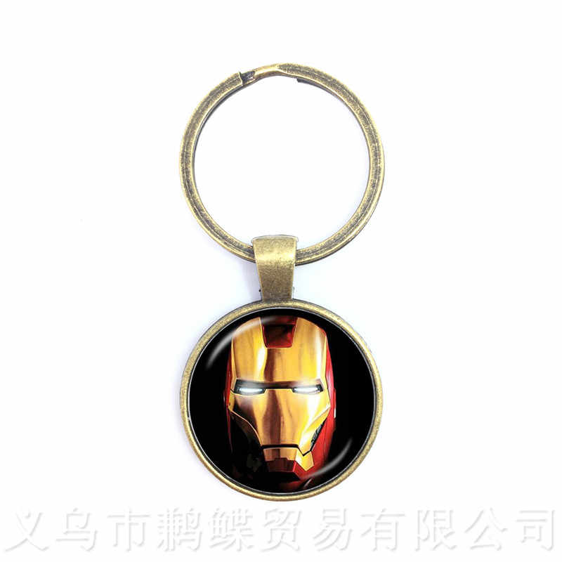 Avengers Captain America Thor And Iron Man Keychains Glass Dome Cartoon LOGO Keyring Personalized Gift For Cartoon Lover