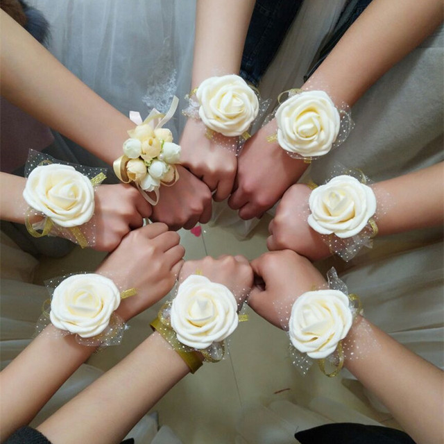 2pcs Team Bride Artificial Rose Wrist Flower Bride To Be Bridesmaids