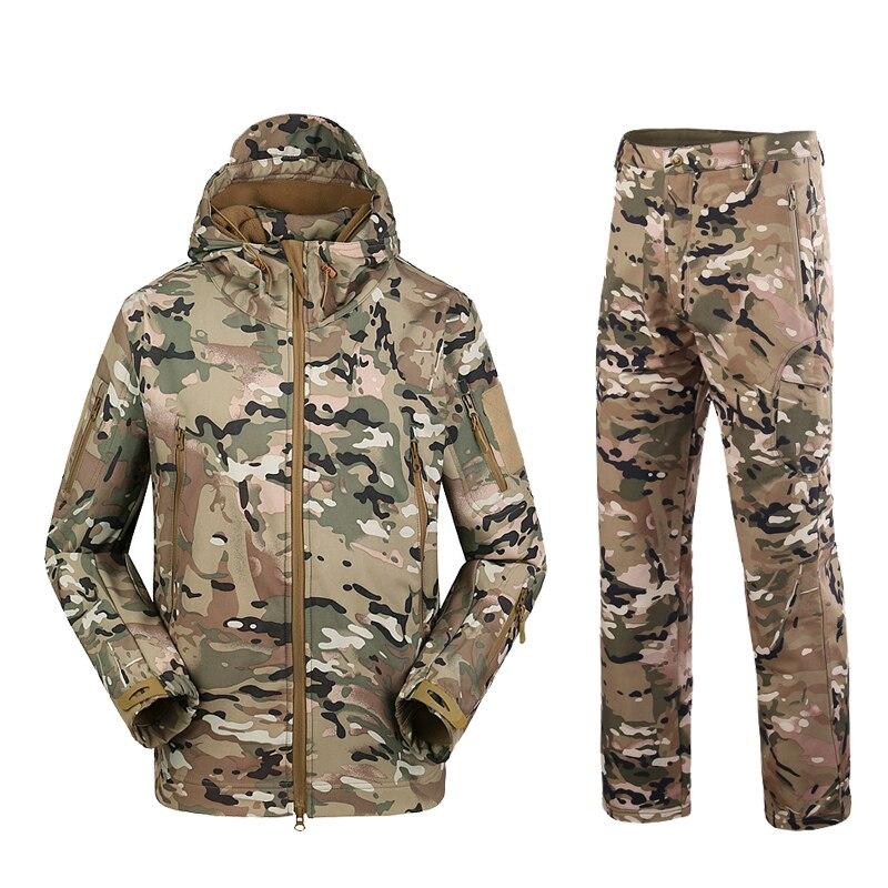 Military TAD Camouflage Tactical Suits Winter Autumn Waterproof Fleece Shark Skin Soft Shell Jacket Set Men Outwear BF05