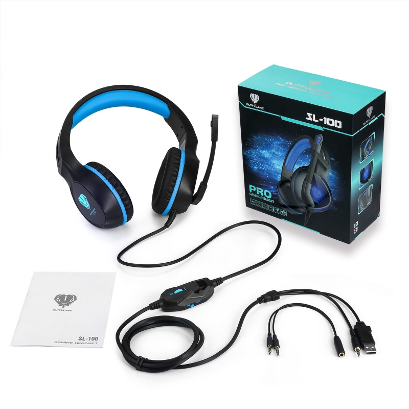 Gaming Headset with Mic 3.5MM Surround Sound Stereo Earphone Headband Wired Over Ear Headphone LED Light for Xbox One PS4 Latop