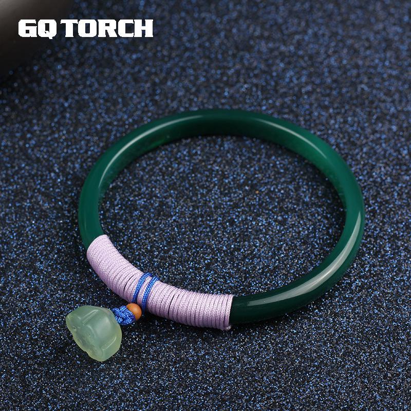 GQTORCH Original Handmade Emerald Chalcedony Bracelets Bangles For Women With Green Jade Lotus Bohhda Jewelry Accessories
