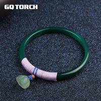 GQTORCH Original À La Main Émeraude Calcédoine Bracelets Bracelets Pour Les Femmes Avec Vert Jade Lotus Bohhda Bijoux Accessoires