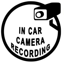 купить 13.7*13.8CM In Car Camera Recording Warning Logo Vinyl Rear Fender Emblem Black Car Sticker Front Hood Accessories for Bmw Dodge по цене 57.32 рублей