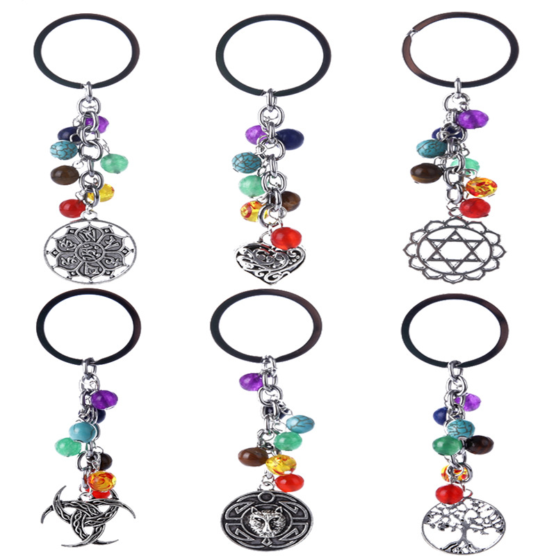 2018 New Fashion Hamsa Fatima Hand Keychain Life Tree Owl Love Heart Pendants with Beads Keychains for Women Car Bag Key Rings