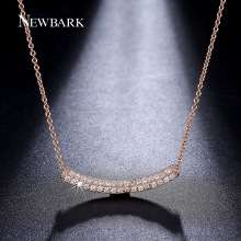 NEWBARK Simple Bar Pendant Two Rows Tiny Cubic Zircon Paved Necklace Women Glow In The Dark Gift For Best Friend Jewelry