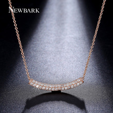 NEWBARK Simple Design Rose Gold Color Bar Necklace Wholesale 2 Row Cubic Zirconia Pendant Chain Necklaces