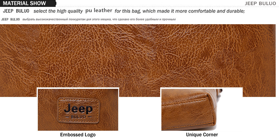 Men Tote Bags Set JEEP BULUO Famous Brand New Fashion Man Leather Messenger Bag Male Cross Body Shoulder Business Bags For Men 1