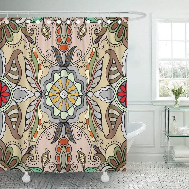 Abstract Pattern Floral Tribal Ethnic Ornate Arabic Indian Turkish Geometric Doodle Waterproof Shower Curtains Extra Long