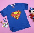 Women's short-sleeve 100% cotton blue super man cartoon t-shirt lady t shirt