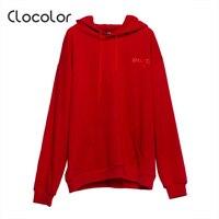 Clocolor Women T Shirt Red Hooded Long Sleeve Letter Plain Casual Fleece 2017 Summer Autumn Girl