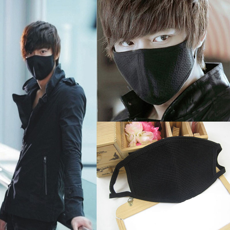 1 Pc Black Health Cycling Anti-Dust Mouth Face Mask Respirator Unisex Fashion Kpop Mouth-Muffle Face Masks HG-1656-BK face mask fashion