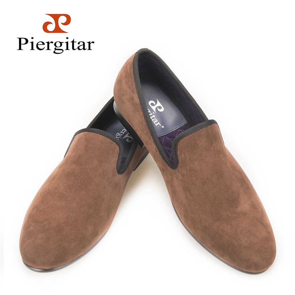 Piergitar new arrive men Handcrafted velvet plain shoes British style men smoking slippers Men Casual shoes Party dress loafers галстуки