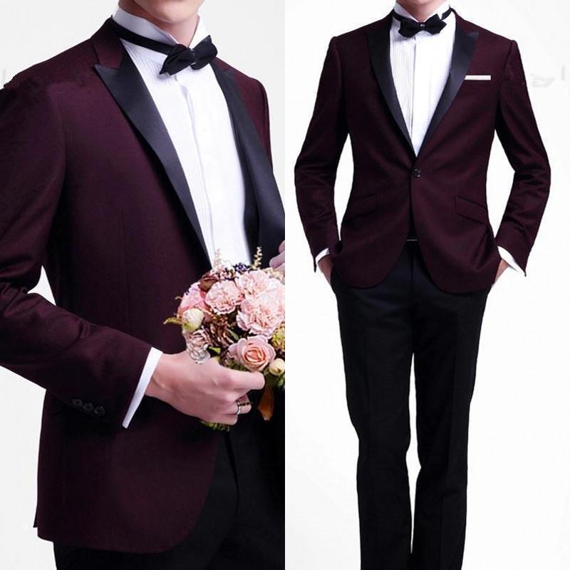 Custom Made Handmade Burgundy Blazers Black Pants 2 Pieces Slim Fits Suits Tuxedo Wedding Suits Groom Suits Formal Evening Suits