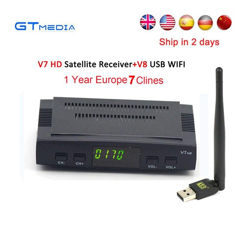 cline for 1 year Europe spain GTmedia V7 HD Receptor DVB-S2 Satellite TV Receiver decoder 1080P+USB Wfi Support powervu youtube freesat v8 super receptor satellite receiver support powervu dre