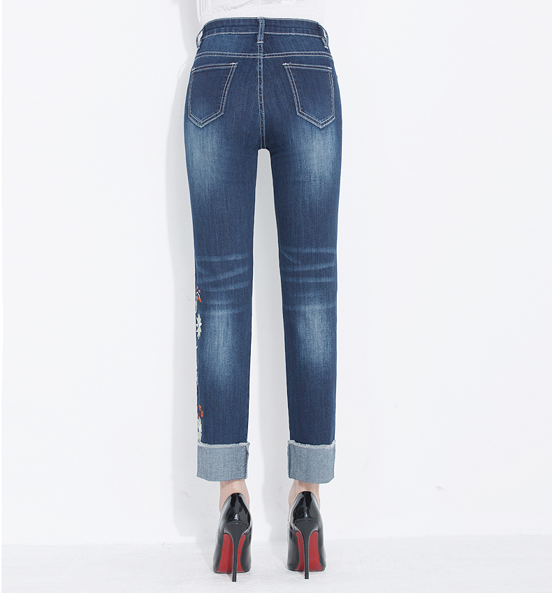 KSTUN Womens Jeans Slim Straight High Waist Quality Brand Summer Embroidered Floral Stretch Cuffs Denim Pants Casual Large Size 17