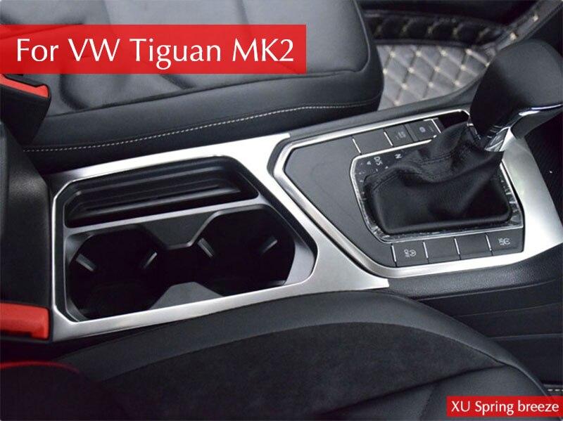For VW Tiguan mk2 2016 2017 2018 Allspace LHD Interior Decoration Gear Shift Panel Cup Holder Frame Cover Sticker Trim MATTE interior accessories shift gear panel cover decoration trim abs 1 piece for chevy chevrolet camaro 2016 2017