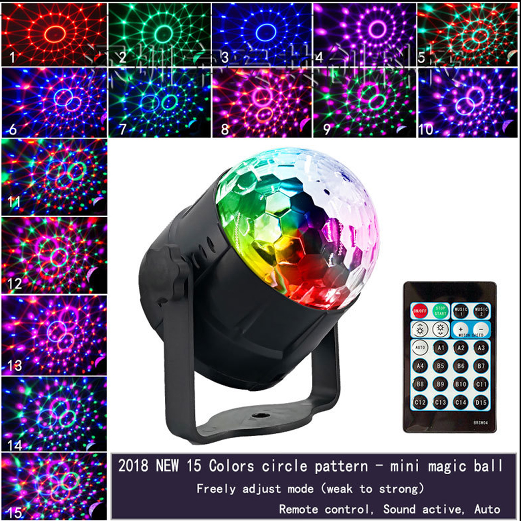 15 Color Small Magic Ball Led Stage Light Disco Disco Crystal Magic Ball Colorful Lights Laser Light 2019 Partito Prestazioni