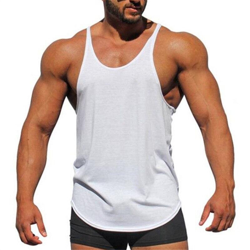 Brand Fitness Clothing Bodybuilding Tank Top Men's Sleeveless Shirts Cotton Soild Y Back Singlet Blank Gyms Stringer Vest
