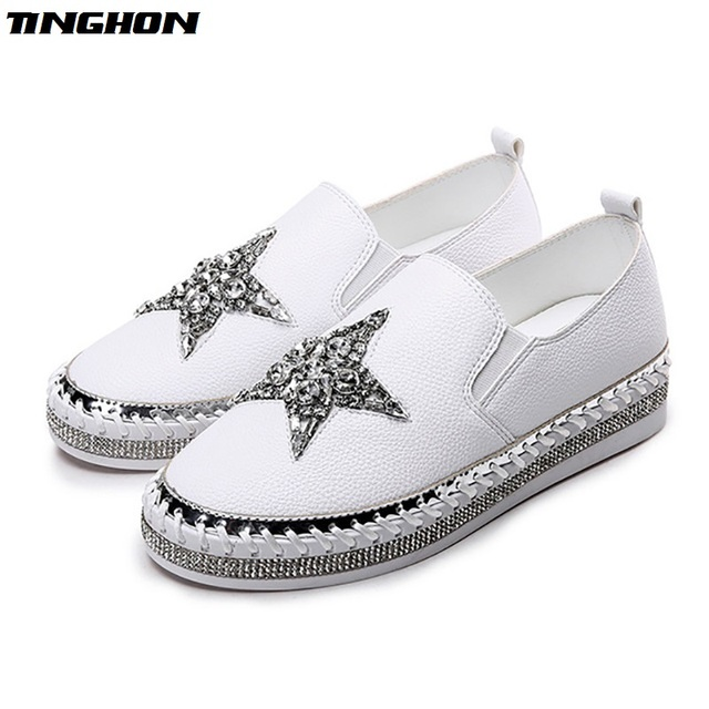 TINGHON Bling Bling rhinestone star espadrilles leather canvas shoes women  creepers slip on women glitter crystal star loafers 40413d5b4ac1