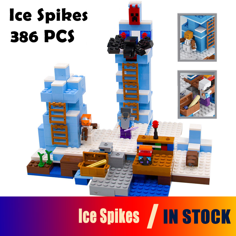 21131 18025 my worlds Model building kits compatible with lego MineCraft The Ice Spikes Educational toys hobbies for children model building kits compatible with lego the sky dragon my worlds minecraft 548 pcs model building toys hobbies for children