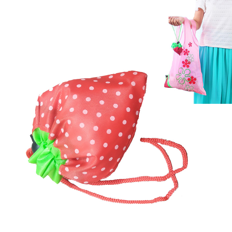 Hot Eco Storage Handbag Strawberry Grapes Pineapple Foldable Shopping Bags Reusable Folding Grocery Nylon Large Bag Random Color new style cartoon fruit lemon eco bag useful nylon foldable reusable shopping bags