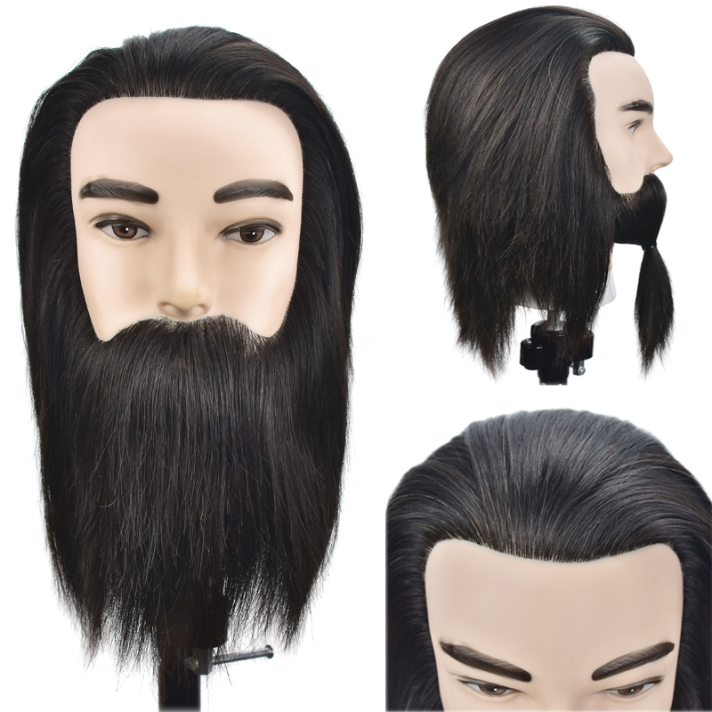 Training Maniqui Head For Hairdresser Real Hair With Beard Mannequin Head With Human Hair Hairdressing Doll Heads Manikin Head chifres malevola png