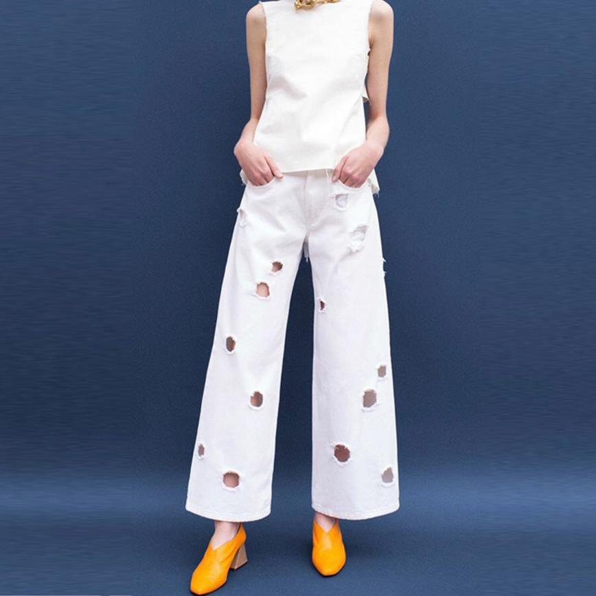New Streetwear style denim hole pants for women spring autumn fashion Wide Leg Pants solid white cowboy pants jeans high quality black white high waist jeans for women new hole pantalones vaqueros mujer all match solid trousers female plus size denim pants