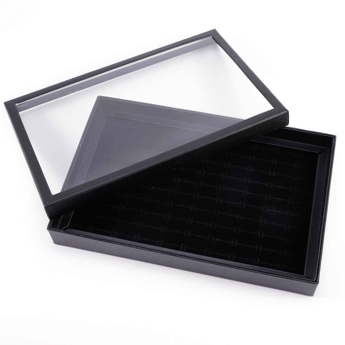 Velvet Jewelry Display Ring Earring Cases & Displays 100 Slots Cover Showcase 29x19x4cm