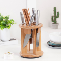 Square Round Wooden Knife Holder Bamboo Kitchen Rack Storage Rack Home Creative Tool Storage Box Combination Knife Holder 40