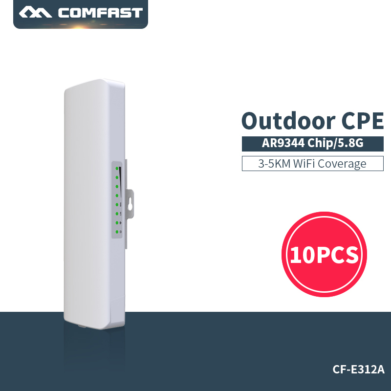 10Pcs sale~ 5.8Ghz 300Mbps Comfast wireless wifi outdoor cpe bridge router ap repeater wifi signal amplifier extender CF-E312A comfast cf e325n ceiling ap 300mbps wifi router wireless repeater